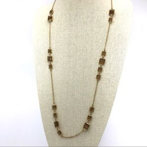 J Crew Long Square Station Amber Gold Necklace